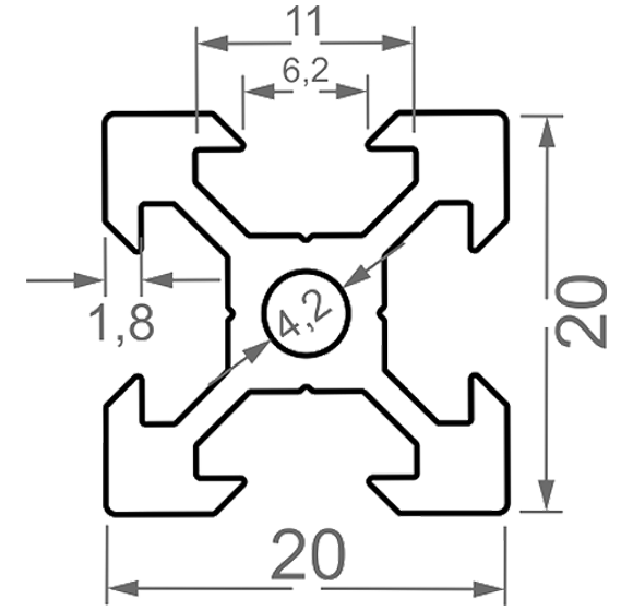 станочный 20*20 V-образный паз